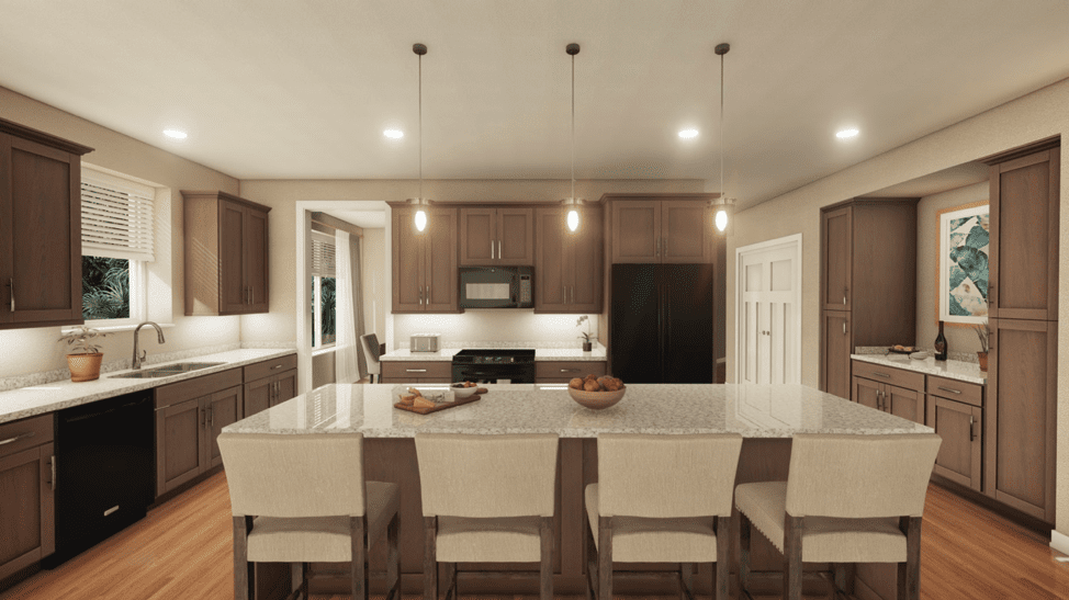 Artistic renderings of the inside of the Lakeside at Waterman Village Lakehouse residences