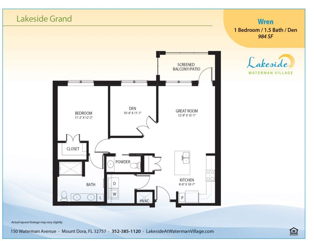 Lakeside at Waterman Village Wren residence layout
